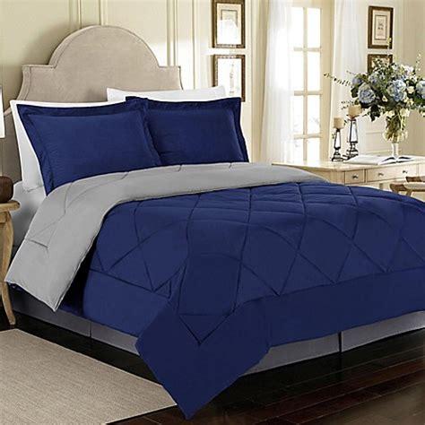 buy solid 3 piece reversible king comforter set in blue