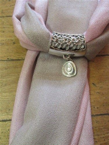 Grey & Pink Two Tone Pashmina wtih Celtic Spiral Scarf Ring