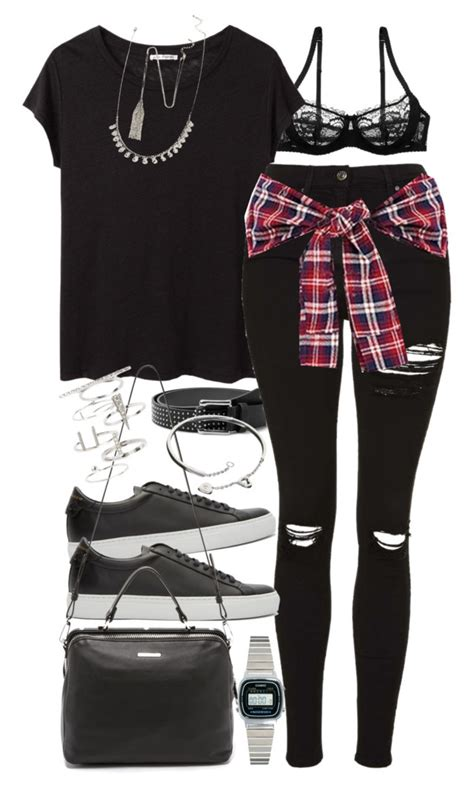 ripped skinny jeans polyvore quot outfit with ripped black jeans and a check flannel shirt