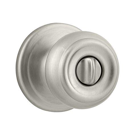 Satin Nickel Interior Door Knobs Shop Kwikset Signature Satin Nickel Turn Lock Privacy Door Knob At Lowes
