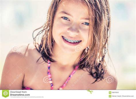 10yo nidist girls girl with teeth braces pretty young teen girl with dental