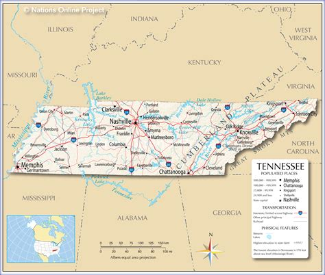 tn usa map reference maps of tennessee usa nations project