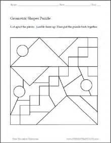 Geometric shapes printable puzzle 1 student handouts
