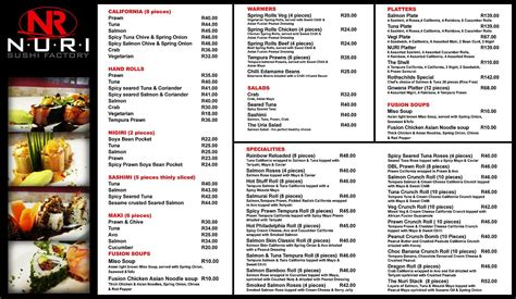 Asian Home Decor nuri sushi has a new menu check it out cape town my love