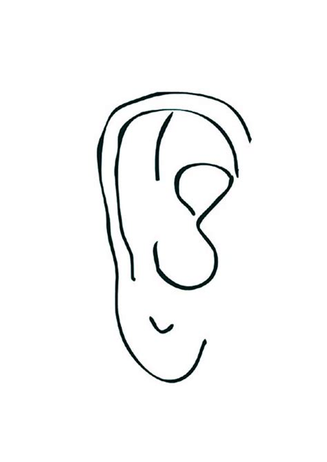 drawing ear coloring pages kids play color two ears