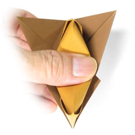 Origami Talking Fox - how to make a traditional talking origami fox page 10