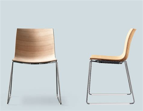 Philippe Starck Chair Catifa 46 Wood Side Chair With Sled Base Hivemodern Com