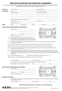 Car Hire Agreement Form In Kenya Pmm0016 Hire Car Condition Agreement Form Pad Rmi