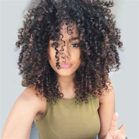 exles of black women hairstyles in the air force 2018 medium inclined bang fluffy colormix afro curly