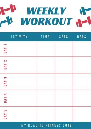 Red And Blue Workout Schedule Planner Templates By Canva Weekly Workout Schedule Template