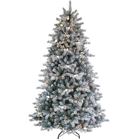 puleo 7 ft jingle bell artificial flocked christmas tree