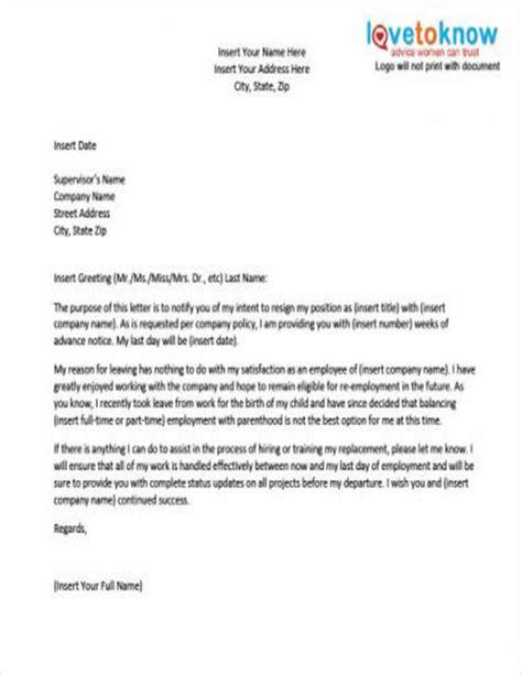 Resignation Letter After Maternity Leave Sle by 8 Maternity Resignation Sles Templates Free Word Pdf Format