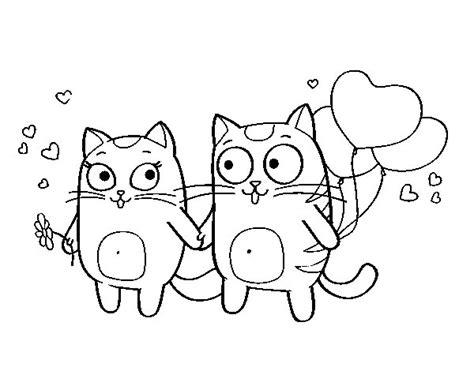 imagenes kawaii para dibujar de amistad dibujo de amor gatuno para colorear dibujos net