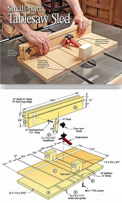 small parts table  sled plans table  tips jigs