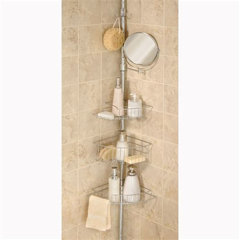 bathroom tension pole caddy elegant home chrome tension pole shower caddy