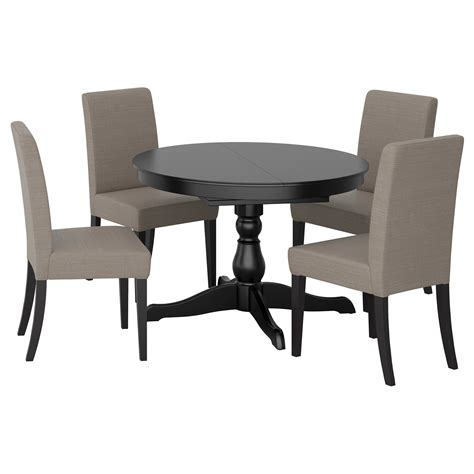 ingatorp henriksdal table and 4 chairs black nolhaga grey