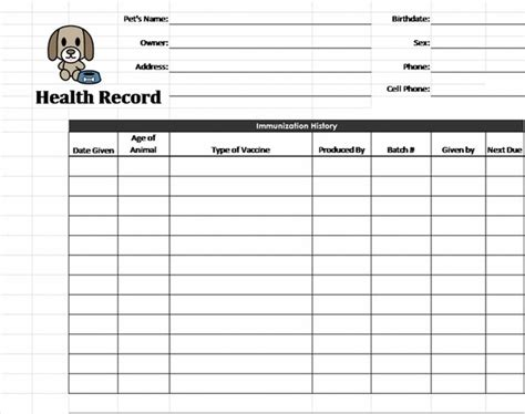 pet health record template pet health record template health