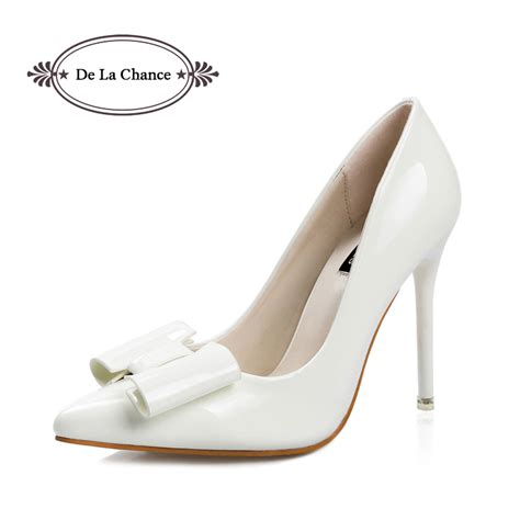 white high heels with bow high heels 2016 pointed toe sweet bow wedding