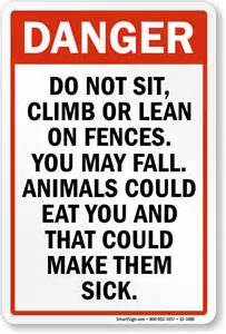 do not sit climb on fences sign sku s2 1080