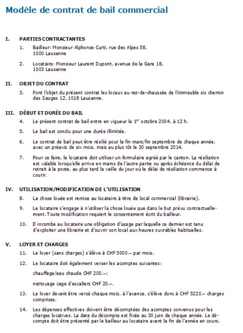 Contrat D Commercial Modèle Modele Bail Location Suisse Document