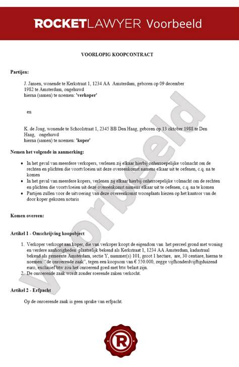 koopcontract woning voorlopig koopcontract gratis opstellen rocket lawyer