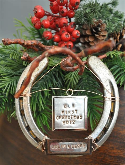 horseshoe first christmas ornament cowboy christmas