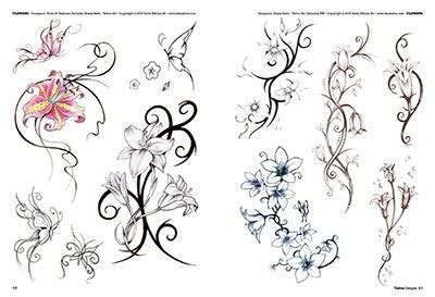 tatuaggi rami con fiori fiori e piume