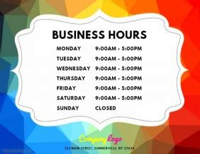 1 070 Customizable Design Templates For Opening Hours Postermywall Opening Hours Template