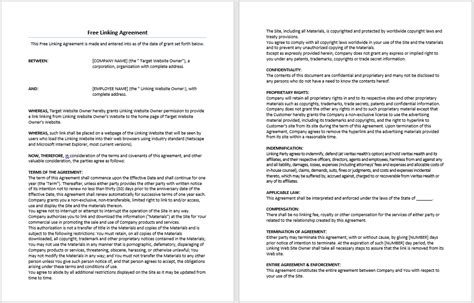 linking agreement template free linking agreement template microsoft word templates