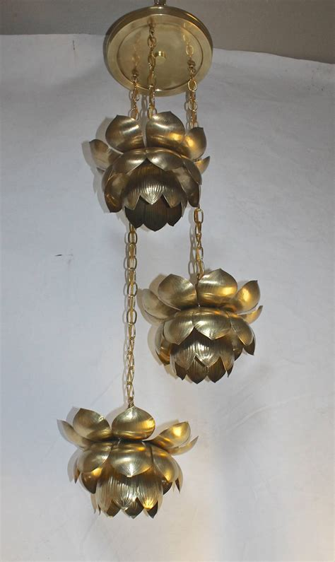 Lotus Pendant Light Feldman Three Pendant Light Lotus Brass Chandelier At 1stdibs