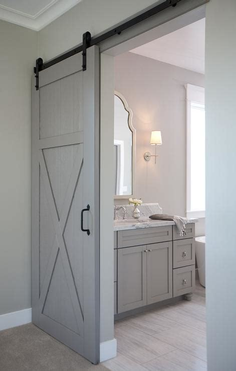 barn door ideas for bathroom en suite bathroom with barn door on rails transitional
