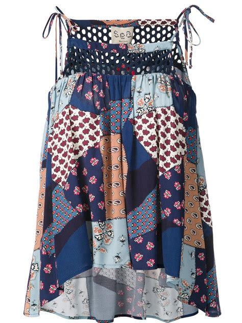 Patchwork Top - sea blue patchwork cami top in blue lyst