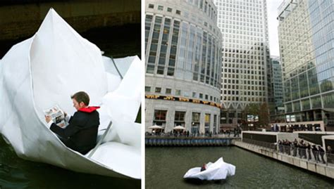 origami boat london folding art artist rides down river thames in paper