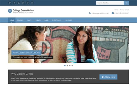 html education templates free responsive bootstrap theme for education college green