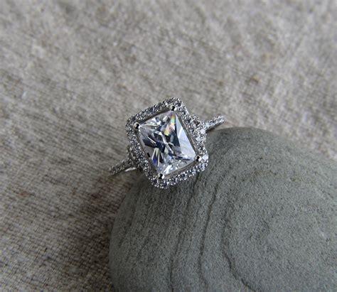 925 sterling silver 2 ct emerald cut halo cz