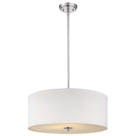 White Drum Pendant Light Contemporary Pendant Light With White Drum Shade In Chrome Finish Ebay