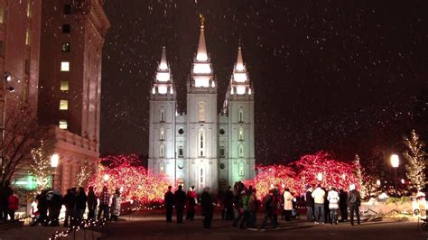 lights and snow at temple square in salt lake