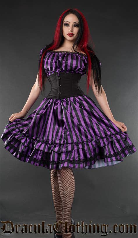 Purple Satin Dress purple striped satin gothabilly dress