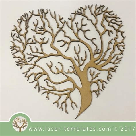 heart tree template laser cut  store  vector