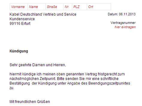 Musterbrief Kündigung Handyvertrag Vodafone Kabel Deutschland Tv K 252 Ndigen Vorlage Chip