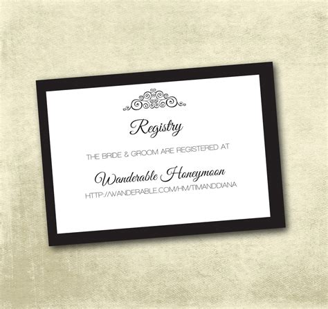 Wedding Registry Card Template by Wedding Registry Enclosure Cards Pdf Instant