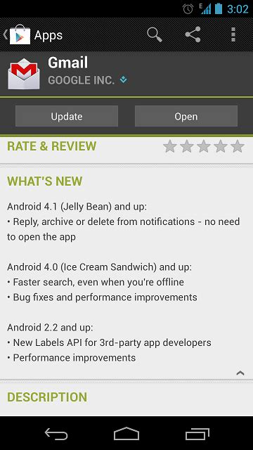 app updates android update gmail app for android os reply delete or archive mail from notification panel