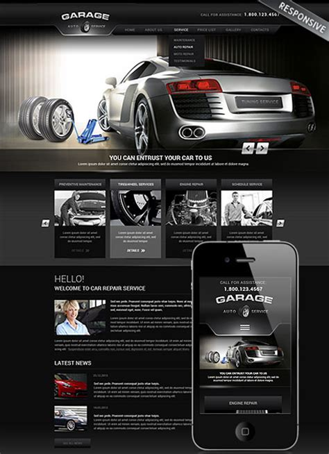 Auto Service Responsive Wordpress Template Car Website Design Templates