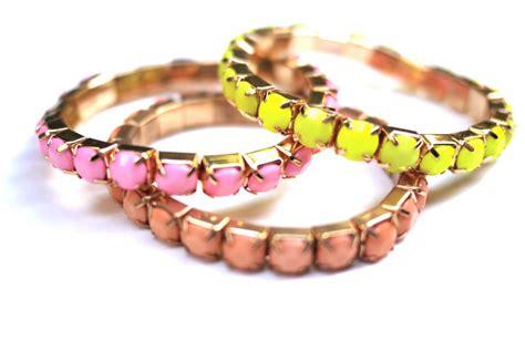 neon bracelet set of 3 in yellow pink orange acrylic
