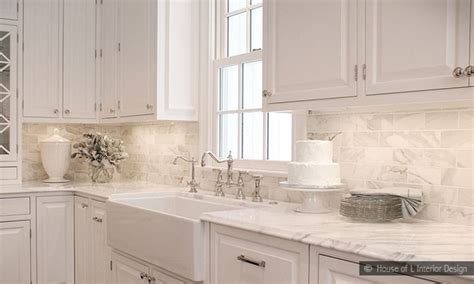 Subway Kitchen Backsplash Kitchen Backsplash Marble Subway Tile Kitchen