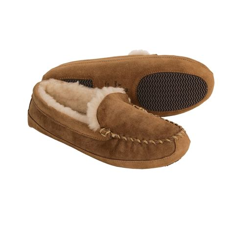 moccasin slippers womens acorn sheepskin moccasin slippers for