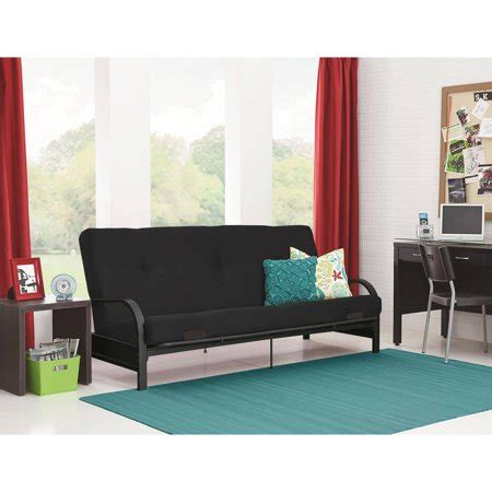 "mainstays black metal arm futon with 6"" mattress, multiple"