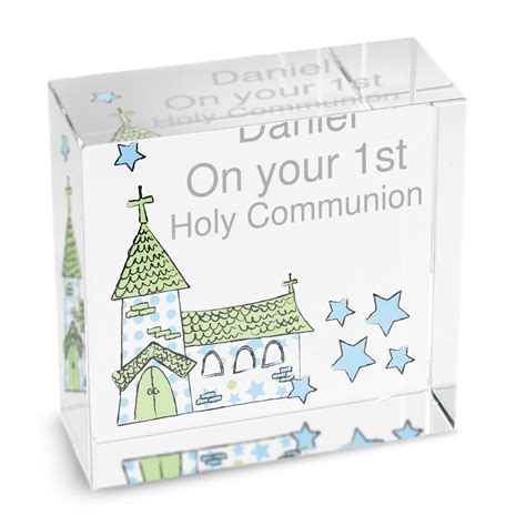 holy communion gifts for boys personalised boys holy communion gift blue whimisical church block