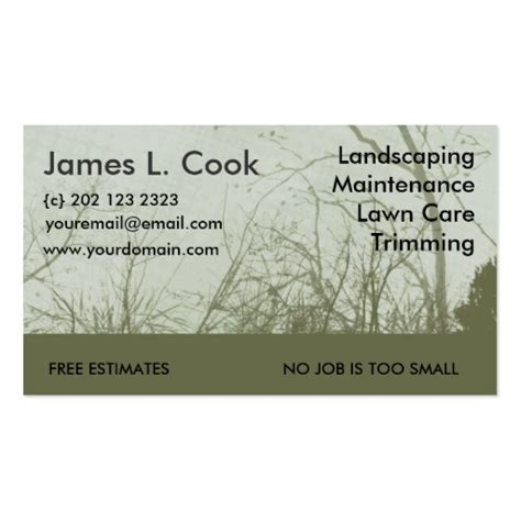 business card template landscape green landscaping lawn care mowing sided standard