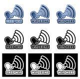 Stiker Mobil Sticker Mobil Sing Universal Code0292 wifi here logo symbol sticker illustration stock vector